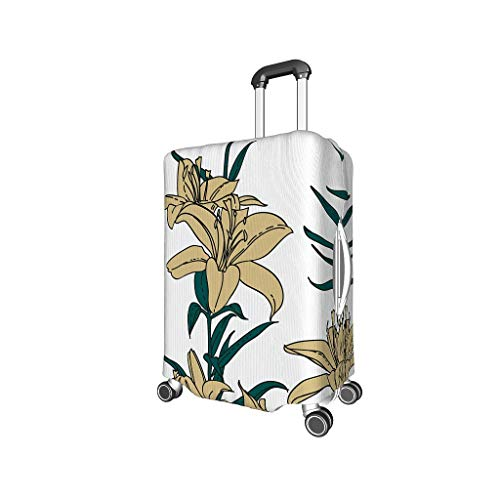 Luggage Cover Plant Flowers Washable Suitcase Protector No Dirty Fit Easily Four Sizes to Choose Anti-Scratch Suitcase Cover Fits 18-32inch Perfect Gift for Birthday Black m (22-24 inch)