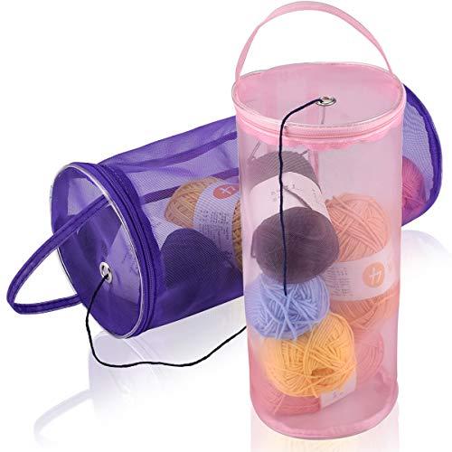 Coopay Bolsas de tejer y organizadores de punto, contenedor compacto para proteger la lana y evitar enredos, bolsa portátil de ganchillo de 30 cm x 13 cm, nailon, 2 unidades, solo bolsa (morado, rosa)