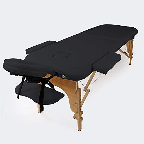 WilTec Camilla Masaje 2 Zonas Color Negro Plegable Apoyabrazos Cosmética Masaje Estética Fisioterapia