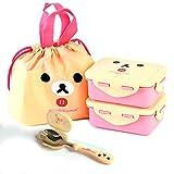 Rilakkuma Lunch Box with Bag for Kids Toddler Children Girl Boy Cute Lunch Box Set (Korilakkuma)