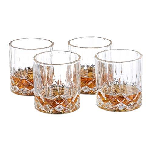 Relaxdays Set de 4 vasos de whisky, 200 ml, Cristal, Diseño elegante,...