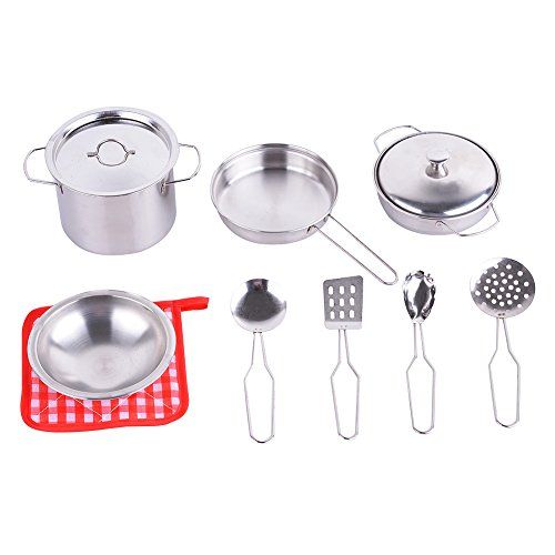 Spark Metal Pots and Pans Kitchen Cookware Playset for Kids with Cooking Utensils Set