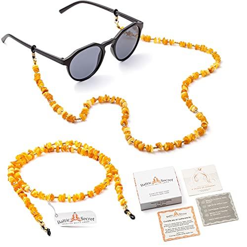 Cadena para gafas de sol para hombre y mujer, también como cadena para máscara para protección bucal, cadena para gafas de sol de 100 % ámbar