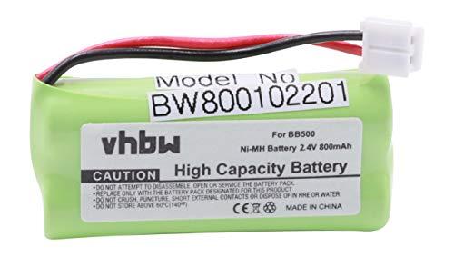 vhbw NiMH Akku 800mAh (2.4V) für schnurlos Festnetz Telefon Binatone Big Button Combo 2 II wie BC102906, 60AAAH2BMJ, 87C, BT-34H, T377.
