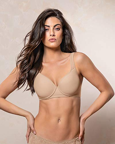 Leonisa Full Coverage and Supportive Cups Bra for Women - Comfort Underwire Bra Beige