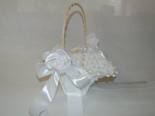 Blumenkinderkörbchen Biedermeier Streukorb weiss mit SATINROSE, 24 x 17 cm - Blumenkinderkorb Streukörbchen zur Hochzeit, Korb Geflochten -