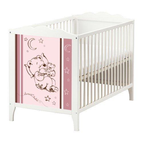 STIKKIPIX Gute Nacht Teddy Möbelsticker/Aufkleber für das Babybett Hensvik von IKEA - BB06 - Möbel Nicht Inklusive