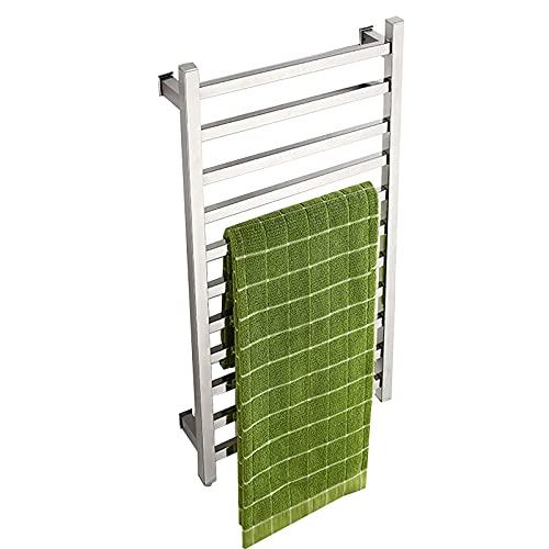 WERYU Eléctrica climatizada de Toallas,304 de Acero Inoxidable de Montaje en Pared toallero con 11 Barra Cuadrada,130W Ahorro de energía de Calentamiento rápido Tendedero para el baño