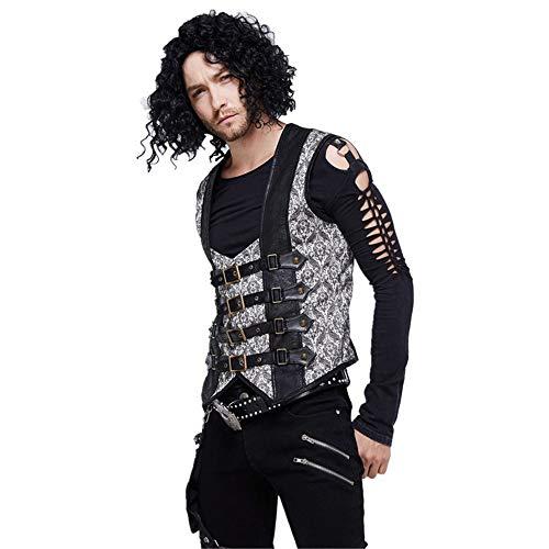 Devil Fashion Gothic Cuero de La PU Chalecos Hombre con Hebilla de Metal, Steampunk Gris Sin Mangas Chaleco,Retro Camisetas Sin Mangas