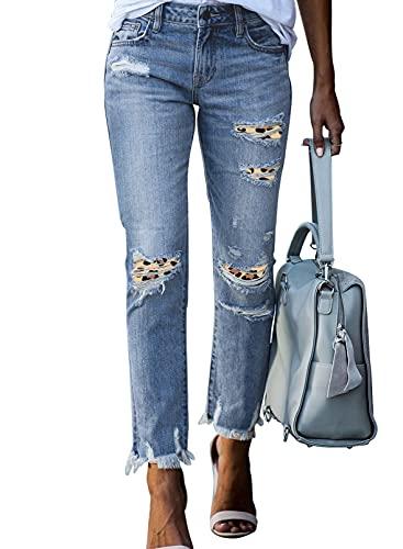 Asvivid Basic High Waisted Straight Skinny Jeans for Women Boyfriend Destroyed Denim Pants Butt Lift Stretchy Blue20 Jean M