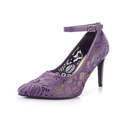 DUNION Women's Bailee Classic Breathable Jacquard Pointed Toe Stiletto Wedding Party Evening High Heel Dress Pump,Bailee Purple,10 M US