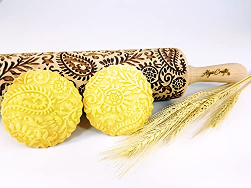 INDIAN embossing rolling pin with Indian Paisley Pattern. Dough roller for embossed cookies and potery by Algis Crafts