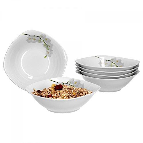 Van Well Vanda Lot de 6 bols à céréales, bols à soupe, petit bol, Ø 14,3 cm, 300 ml, décor floral, porcelaine de marque élégante