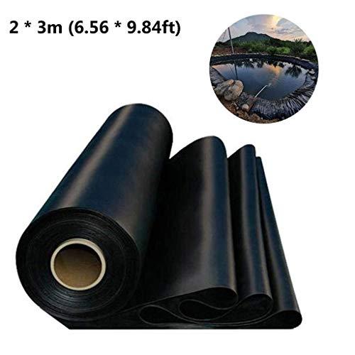 Ashui 3 mx 2 m PVC Teichfolie, Teichfolie 0,3mm,große Fischteichfolie, Gartenpoolmembran, verstärkte und verschönerte Umgebung, Schwimmteich Folie Gartenteich Teichplane schwarz