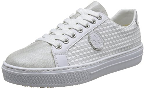 Rieker Damen L59B4 Low-top, Weiß (White-Silver/Weiss/Silber/Argento), 40 EU