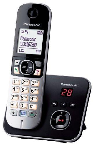 Panasonic KX-TG6821FRB - Teléfono inalámbrico digital (manos libres, pantalla LCD), color negro y plateado