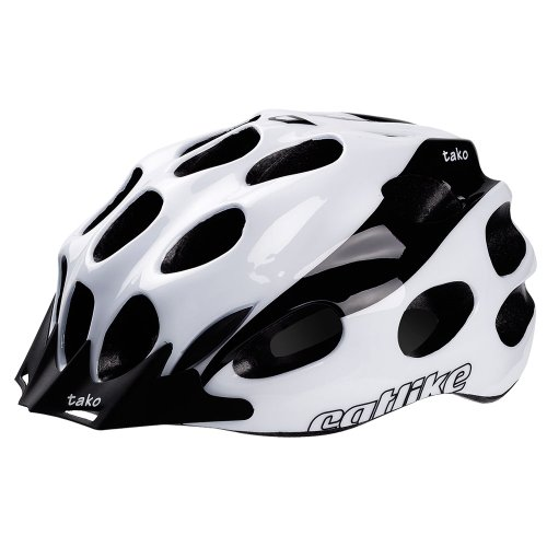 Catlike Tako - Casco de ciclismo, color blanco / negro brillo, talla LG (58-62 cm)