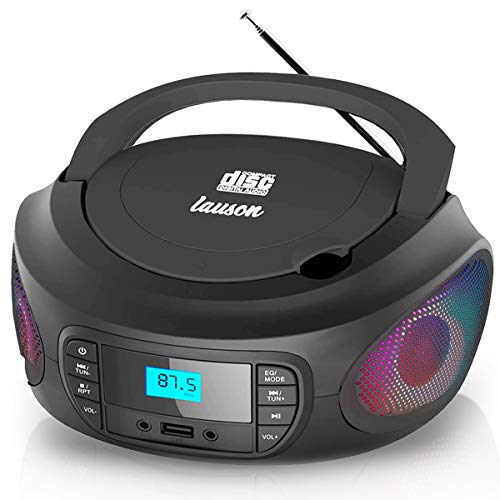 Lauson LLB598 Small Boombox with Cd Player | Color Changing Lights | Portable Radio CD-Player Stereo with USB | Cd Player for Kids | Headphone Jack 3.5mm (Black)