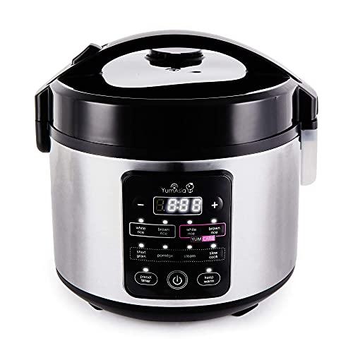 Yum Asia Kumo YumCarb Cocina de arroz con tazón de cerámica y lógica difusa Avanzada, (5.5 Tazas, 1 litro), 5 Funciones de cocción de arroz, 3 Funciones de multicocina, 220-240V