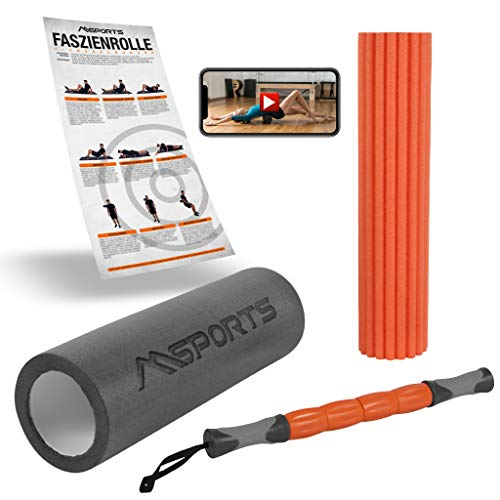 MSPORTS Fazien Set Premium 3 in 1 inkl. Übungsposter + Workout App GRATIS | Faszienrolle + Massagerolle + Massagestick + Übungsposter | Massagerolle Foamroller (Schwarz/Orange)