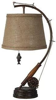 MISC Set of 2 - Brown Fishing Rod Lamp Lodge Themed Light Fisher Inspired Fish Pole Decor Coastal Cabin Decorative Reeling Shape Boating Sport, Polyresin 22.5