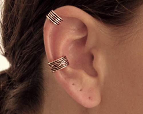 Set of 2 Sterling Silver Ear Cuffs, Cartilage Earrings, Wide Band Ear Cuff, Non Pierce Ear Cuff, Silver Ear Wrap, Handmade Ear Cuff