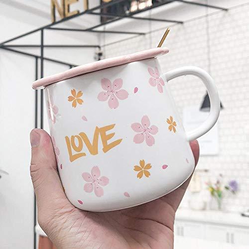 xingfuankang Taza con Letras Esmerilada Rosa Creativa con Tapa De Cuchara Tazas De Café Taza De Leche para El Desayuno Vasos Novedad Bonitos Regalos-03
