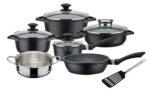 GSW 414562 Kochtopf-Set Gourmet Granit 10-teilig, Aluminium, Glas, Kunststoff, Edelstahl, schwarz