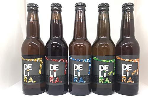 Birra Artigianale Cruda Italiana DELìRA - FIVE MIX - Lager Bionda + Lager Rossa + Weiss + I.P.A. + A.P.A. - Confezione mix da 15 Bottiglie 33cl - Prodotta da I.C.B. Italian Craft Brewery