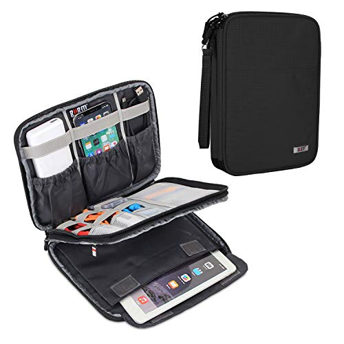 """BUBM Double Layers Electronic Accessories Case, Electronic Cord Organizer Travel Case for Cables, Plugs, External Hard Drivers and More, Compatible with Up to 7.9"""" IPad Mini, Black"""