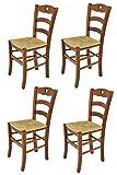 Tommychairs - Set de 4 chaises Cuore pour la Cuisine, Bar et la Salle à Manger, avec Structure en Bois Coleur Noix et Assise en Paille