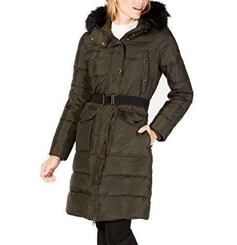 MICHAEL Michael Kors - Cappotto da donna in finta pelliccia con cappuccio, con cintura e cappuccio, colore: Verde oliva scuro - verde - Small