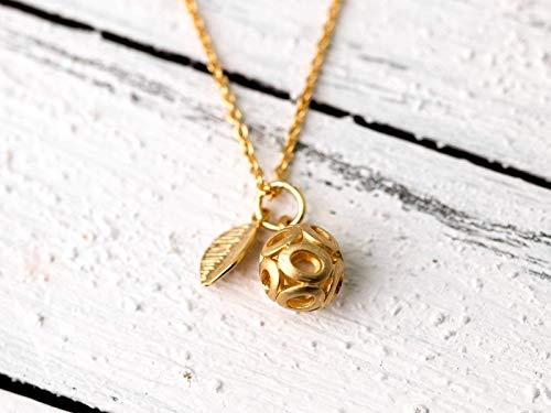 Zarte lange vergoldete Kette mit Anhänger, filigran, orientalische Gold-Kugel, Ball, das perfekte Geschenk für Sie