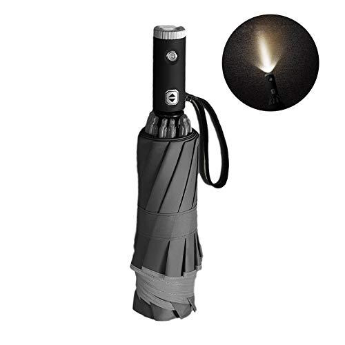 Paraguas con linterna LED, paraguas de viaje a prueba de viento, paraguas inverso plegable compacto con franja reflectante de seguridad para hombres y mujeres