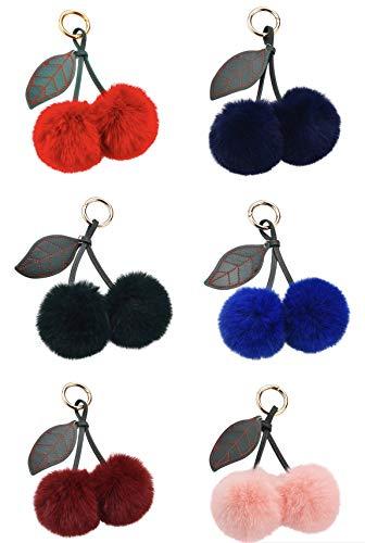 trendfuxx® - Fellbommel Anhänger für die Handtasche aus Kunstfell, Kirsche, Schlüsselanhänger (rot)