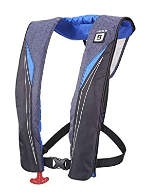 Bluestorm Gear Cirrus 26 Inflatable PFD Life Jacket (Deep Blue) | US Coast Guard Approved Automatic/Manual Life Vest for Adults