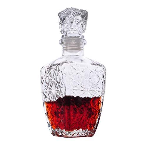 WENYAO Jarra de Vidrio con tapón de Vidrio, para licores, Vino, borbón, Brandy, Licor, Agua, Enjuague bucal, 450 ml