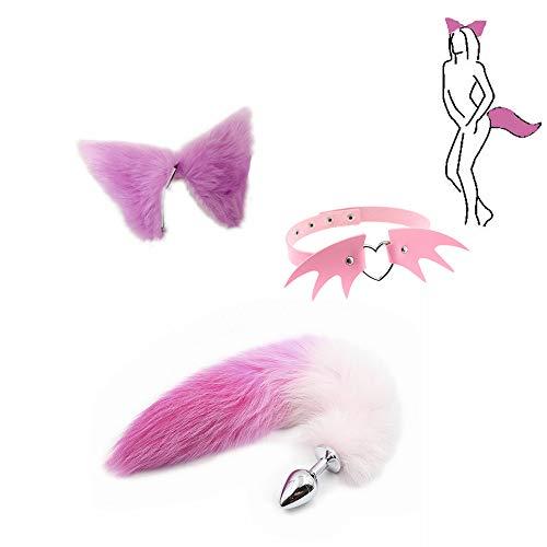 Pink Set - Fuchsschwanz Ànâl Bütt + Ohren Haarnadel & Dämonenförmiger Halsreif Halloween Cosplay Party Spielzeug