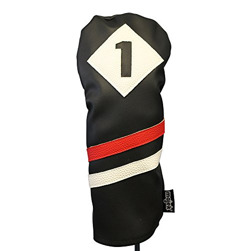Majek Retro Golf Headcovers Black Red and White Vintage Leather Style 1 & 3 Driver and Fairway Head Cover Fits 460cc Drivers Classic Look