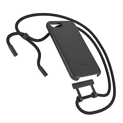 Woodcessories - Nachhaltige Handykette abnehmbar kompatibel mit iPhone SE 2020 Hülle mit Band schwarz, iPhone 8 Hülle mit Band schwarz, iPhone 7, iPhone 6 (s)