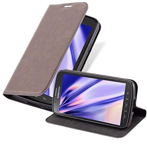 Cadorabo Hülle für Samsung Galaxy S4 Active - Hülle in Kaffee BRAUN – Handyhülle mit Magnetverschluss, Standfunktion und Kartenfach - Case Cover Schutzhülle Etui Tasche Book Klapp Style