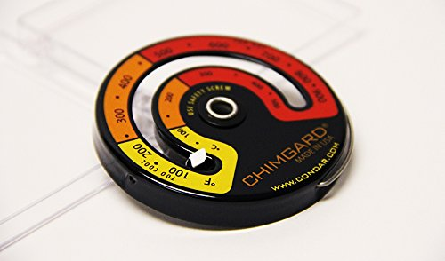 EXCITING EASY TO READ GRAPHICS. ChimGard Energy Meter (3-4) Woodstove Thermometer. Durable genuine porcelain enamel with yellow, orange and red zones clearly indicated on black case.