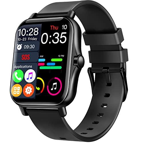 スマートウォッチ 【1.70インチ大画面 Bluetooth通話】 音楽再生 腕時計 Bluetooth5.2 活動量計 3D動態文字盤 メンズ レディース スポーツウォッチ GPSライニング 歩数計 IP67防水 録音 スマートロック ミュージック smart watch 長持ちバッテリー マナーモード メッセージ通知 SOS スマートブレスレット iPhone/Android対応 日本語説明書付き (ブラック)