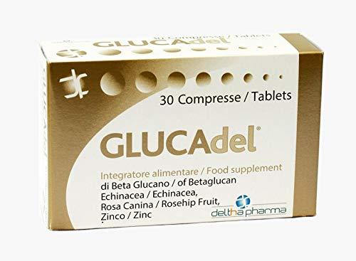 Glucadel Integratore Alimentare a base di Beta Glucano, Vitamina C Naturale (da Rosa canina), Echinacea, Semi di Uva e Zinco a supporto del sistema immunitario di adulti e bambini - 30 compresse