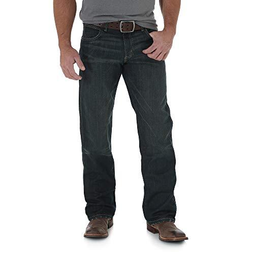 Wrangler Mens Retro Relaxed Fit Boot Cut Jean, Worn Black, 42W x 32L