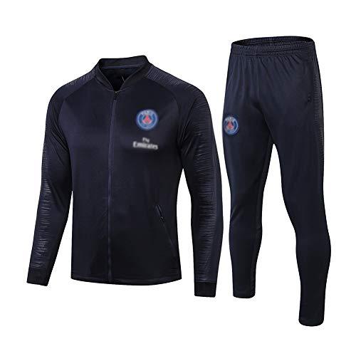 ZH~K Traje de entrenamiento de club de fútbol europeo para hombre, manga larga, transpirable, ropa deportiva (parte superior + pantalones) – A1243 sudaderas para hombre (color: azul marino, tamaño: S)