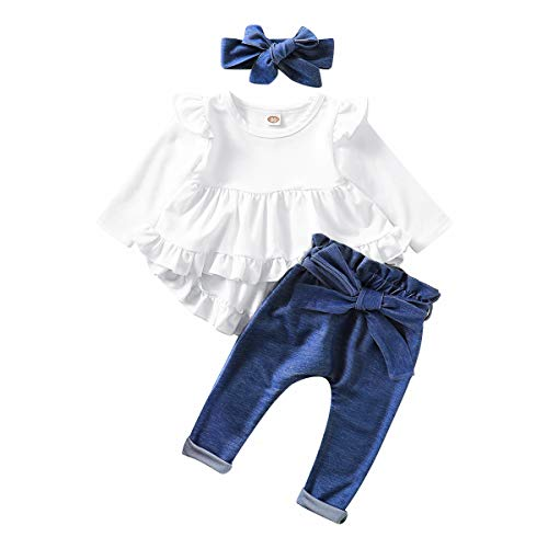 Infant Toddler Baby Girls Clothes Long Sleeve Ruffles White Shirt Tops + Denim Blue Long Pants Fall Winter Outfits for Girl