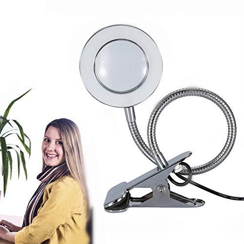 Filfeel Lupa iluminada 2.5X Carga por USB portátil, lectura del trabajo del tatuaje clip de la energía de la protección ocular para la tabla