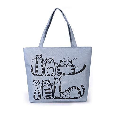Henreal Handtaschen Damen Tasche mit Cartoon-Katzen-Print Tote Bag Cotton mit Reißverschluss um das Herunterfallen von Gegenständen zu verhindern Casual bag für den täglichen Freizeiteinkauf