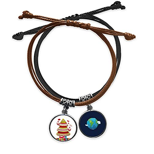Bestchong Merry mas Tree Gift Illustration Bracelet Rope Hand Chain Leather Earth Wristband